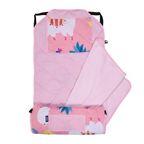 Wildkin Kids Modern Nap Mat with Pillow for Toddler Boys & Girls, Ideal for Daycare & Preschool, Features Elastic Corner Straps, Cotton Blend Materials Nap Mat for Kids, BPA-free(Llamas & Cactus Pink)