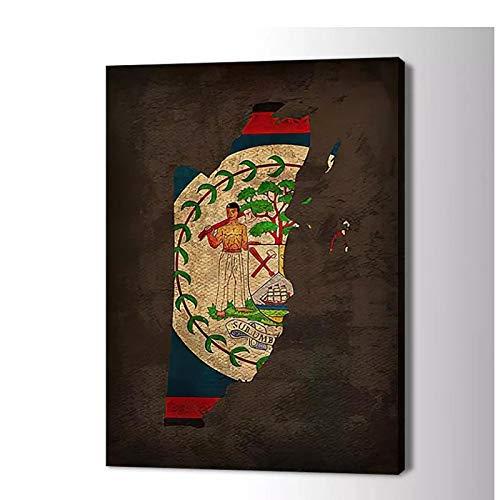 Gigoo Belize Flagge Kunst Poster Leinwand Kunst Bild für Wohnzimmer Home Decor HD Print Raumdekor für Schlafzimmer Ästhetik 60x80cm Rahmenlos