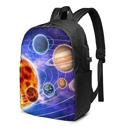XCNGG Nine Planets Business Laptop School Bookbag Mochila de Viaje con Puerto de Carga USB y Puerto para Auriculares de 17 Pulgadas