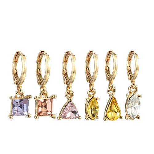 6 Pcs/Set New Women Jewelry Gifts Christmas Gift Gold Color Colorful Crystal Stud Citrine Amethyst Round Hoop Dangle Earrings