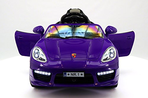 Moderno Kids Kiddie Roadster Children Ride-On Car with R/C Parental Remote 12V Battery Power LED Wheels Lights + 5 Point Seat Belt + MP3 Music Player + Baby Tray Table + Rubber Floor Mats (Purple)