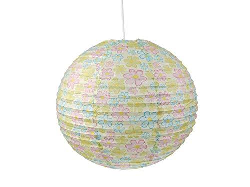 Papierlampe fürs Kinderzimmer - Lampenschirm mit BLUMEN Motiv - Pendelleuchte mit Aufhängung