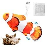 Dyroe Katzenspielzeug Elektrische Fische, Elektrisch Spielzeug Fisch mit Katzenminze Katzen Spielsachen Interaktive Spielzeug USB Plüsch Fisch für Katze zu Spielen, Beißen, Kauen und Treten Red
