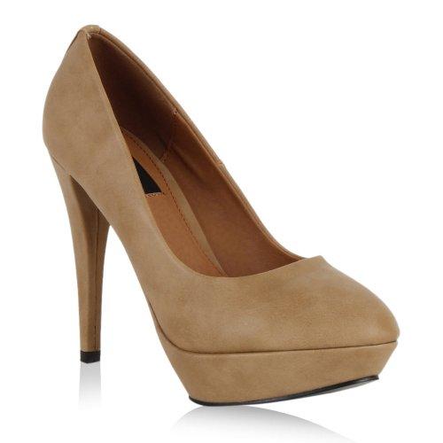 Damen High Heels Plateau Pumps Leder-Optik Braut Stilettos Abend Peeptoes Spitze Schuhe 43538 Beige Glatt 37 Flandell