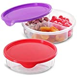 Zilpoo 2 Pack - 3 Compartment Round Plastic Food Storage Container with Lid, Divided Kids Lunch Box, Candy and Nut Serving tray w/ Cover, Keto Snack Plate, Arts, Crafts Organizer Holder, 7-Inch