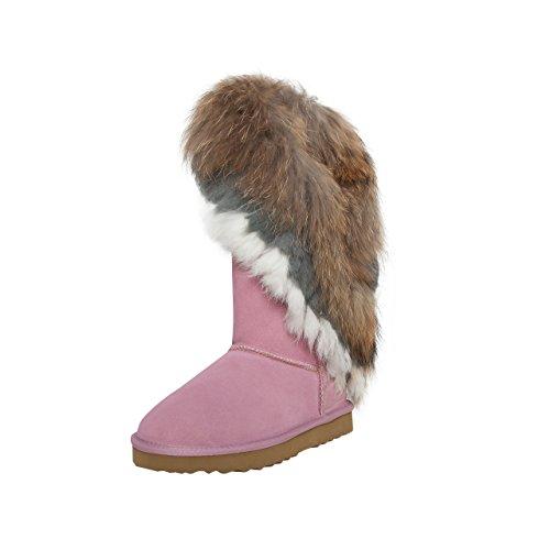 SKUTARI® Leder Cherokee High Boots, Wildlederstiefel mit kuscheligem Kunstfell, Indianer-Stiefel, hohe Damen-Stiefel aus Echt-Leder, handgefertigt in Italien, Winterschuhe