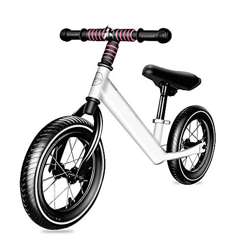 NAINAIWANG Bicicleta Equilibrio 12'para niños Empuje para niños pequeños 3 4 5 6 años de Edad Entrenamiento pequeños con neumáticos de Goma de inflado de Altura de Asiento Ajustable