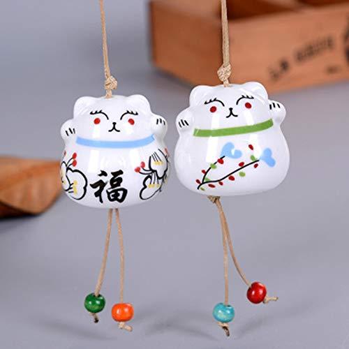 gerFogoo 2 Stück Glückskatzen-Windspiel, Mini-Glückskatze Windspiele Feng Shui Windglocke Glückskatze Anhänger Haus Garten Hängende Glocken