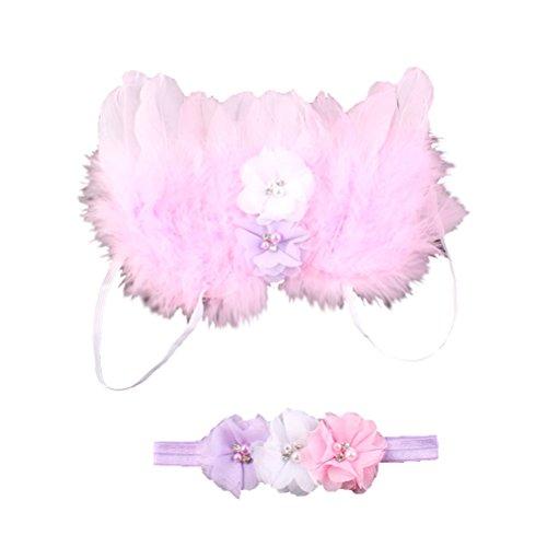 Tinksky - Disfraz de ángel con plumas y alas, para bebé o niña, de muselina de seda, con diadema de bebé recién nacido (rosa)