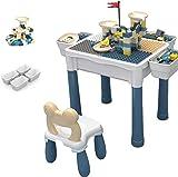 JIAFENG Meubles pour Enfants Table Multifonctions Construction Bricolage, Une Table 6-en-1 Compatible avec l'apprentissage Toy Storage Table, Table à Manger pour Enfants, 8 Tapis antidérapants, b.