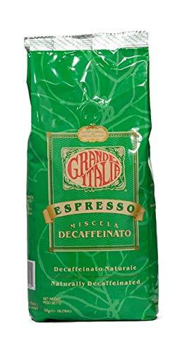 Grande Italia Decaf Whole Bean Espresso, Miscela Decaffeinato, 1lb