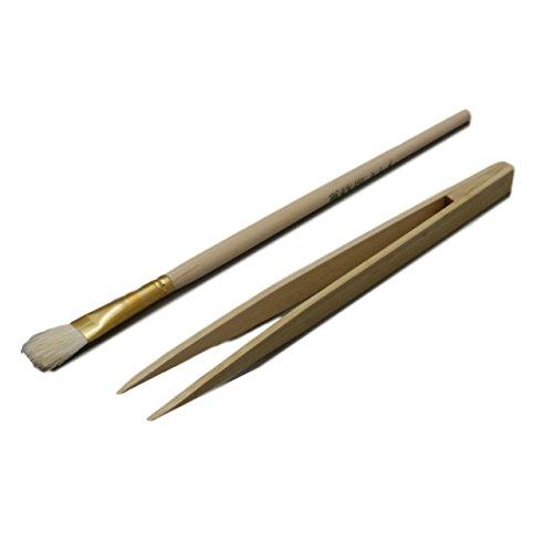 竹 製 ピンセット & 筆 セット 静電気 無し 非磁性 精密 作業 ホビー 工作 ふで 一式