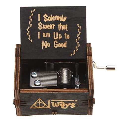 AGZHU Carillon In Legno, Vintage Laser Inciso Carillon, Classico Manovella Intagliato A Mano Carillon, Piacevole Melodia Music Box Per San Valentino, Compleanno (Tema Harry Potter, Nero)