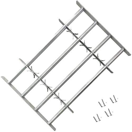 lyrlody- Fenstergitter, Einstellbares Sicherheitsgitter Stahlgitter Fenster Gitter mit 4 Querbalken für Fenster von 1000-1500mm Breite