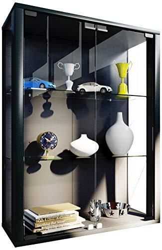 VCM Wandvitrine Sammelvitrine Glasvitrine Wand Vitrine Regal Schrank Glas Hängevitrine Schwarz 80 x 60 x 25 cm