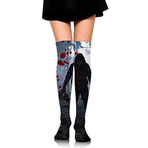 Hdadwy Hombre de Halloween aterrador con medias de tobillo de motosierra de bosque sangriento sobre la rodilla calcetines deportivos de fútbol para mujer