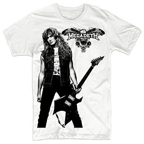 HONGA Men's Megadeth Dave Mustaine T-Shirt White, Awhite, XXL