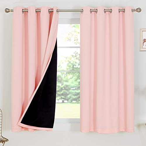 Deconovo Room Curtains 100% Blackout Doubled Total Dark Room Thermal Insulated Window Drapes for Bedroom Living Room Kitchen Little Baby Boy Girl Nursery, 2 Panels, Each 52x63 in, Crystal Pink