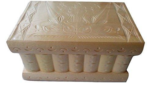 Big Magic Mystery Puzzle en bois Secret difficiles Belle sculpté à la main bijoux en bois boîte de rangement Jouet en bois spécial (Natural laquered wood)
