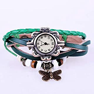 Green Elegant Butterfly Leather Style Watch For Females