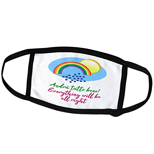 3dRose Andra Tutto bene. Everything Will be All Right. Rainbow, rain. - Face Covers (fc_339529_2)