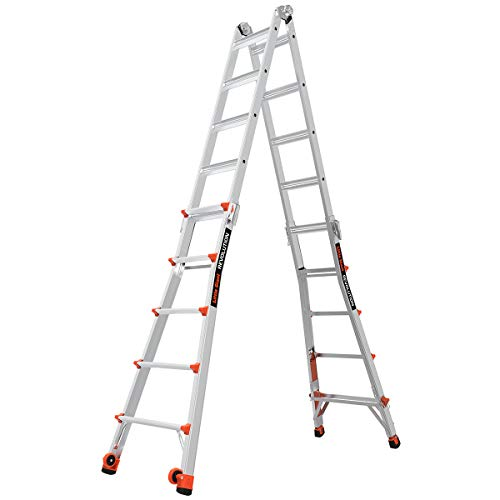 Little Giant Ladders, Revolution with Ratchet Levelers, M22, 22 ft, Multi-Position Ladder, Ratchet leg levelers, Aluminum, Type 1A, 300 lbs weight rating (12022-801)