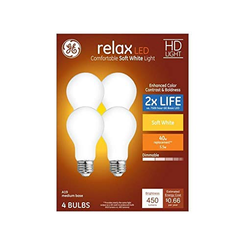 GE Relax 4-Pack 40 W Equivalent Dimmable Warm White A19 LED Light Fixture Light Bulbs