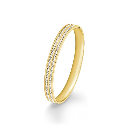 s.Oliver Damen-Armreif Swarovski Elements IP Gold Edelstahl Kristall weiß 6.7 cm - 567473