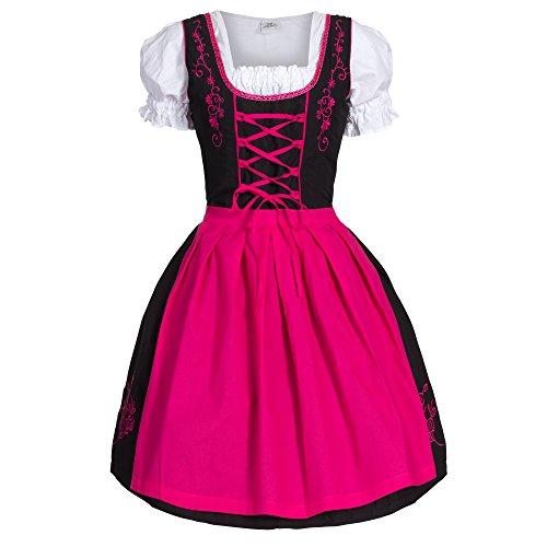 Bongossi-Trade Dirndl 3 TLG.Trachtenkleid Kleid, Bluse, Schürze, Gr. 44 schwarz pink
