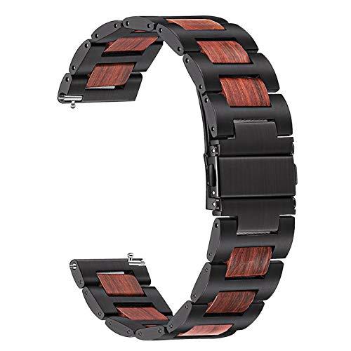 TRUMiRR Kompatibel für Galaxy Watch 46mm//Huawei Watch GT 2 46mm/Huawei Watch Active Armbad,22mm Edelstahl &Natürliches Holz Rotes Sandelholz Uhrenarmband Quick Release Ersatzband für Samsung Gear S3