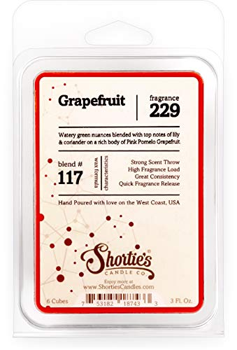 Shortie's Candle Company Grapefruit Wax Melts - Formula 117-1 Highly Scented 3 Oz. Bar - Made with Essential & Natural Oils - Fruit & Berry Air Freshener Cubes Collection