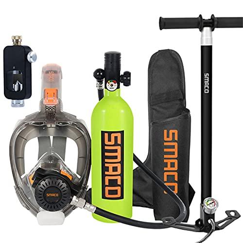 Botellas de buceo Mini Cilindro de oxígeno de Buceo, Kit de Equipos de Tanque de Buceo portátil de 1L con 20 Minutos de respiración subacuática, Equipo de respirador de Buceo para Nadar Rescate,Verde