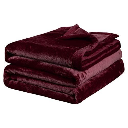 PiccoCasa Kuscheldecke Tagesdecke Fleecedecke mit Rand Microfaser Decke Weiche Warme Leichte Decke 330GSM für Bett Sofa usw. Burgunderrot 200x230cm