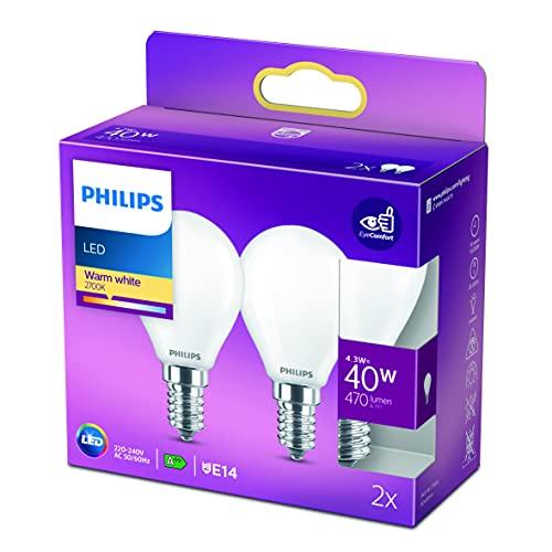 Philips - Bombilla LED Cristal, 40W, E14, Mate, Luz Blanca Cálida, No Regulable, Pack de 2 Unidades