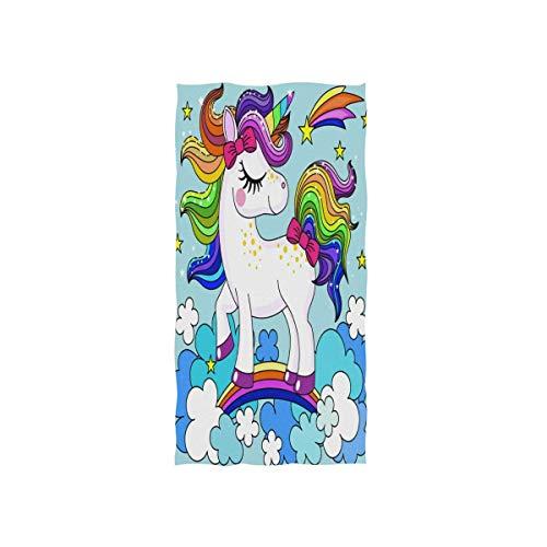 Bert-Collins Towel Toalla de Mano Rainbow Animal Unicorn Cute Cute Absorbent Bath Toallas de Playa para Gimnasio Travel Fitness SPA Home Kitchen 27.5x15.7in TWL-1632