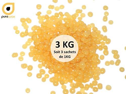 3 sachets de 1KG de Perles de cire à épiler Purewax By Purenail, cire pelable sans bandes BLONDE MIEL- soit 3 x 1000gr-Livraison Gratuite TOP PROMO