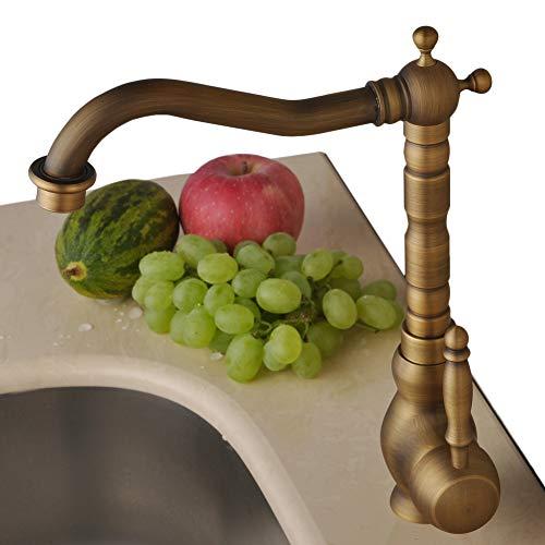 Ottone antico da cucina miscelatore rubinetto monocomando per lavello Giraffe rubinetto lavabo con bocca girevole