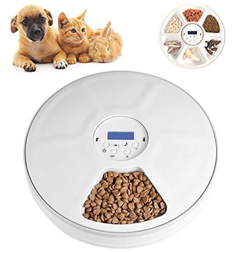 Lacyie Comedero Automático para Perros y Gatos, 2 Modos Dispensador de Comida automático con Temporizador, 6 Dispensador de Alimentos Secos y húmedos para Perros, Gatos, Conejos y Mascotas Pequeñas