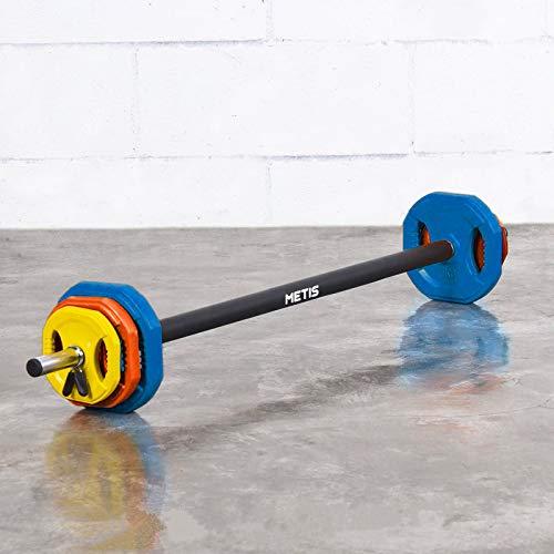 METIS Juego de Body Pump – Barra de Musculación 20KG con Discos de Pesas 1x2.5kg, 2x2.5kg, 2x1.25kg y Azanaderas Perfecto para Musculacion / Entrenamiento en Casa