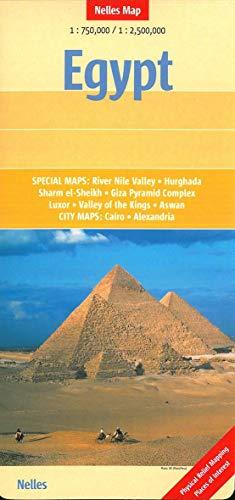 Egipto, mapa de carreteras. Escala 1:750.000/ 1:2.500.000. Nelles.: Special maps: River Nile Valley, Hurghada, Sharm el-Sheikh, Giza Pyramid Complex, ... / City maps: Cairo, Alexandria (Nelles Map)