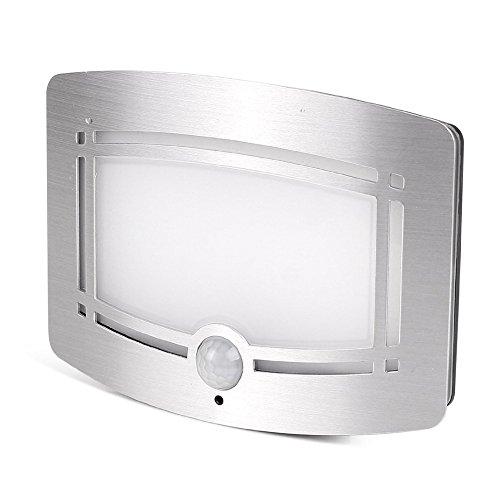 LemonBest® LED Lampe Murale, Détecteur de Mouvement Activé Veilleuse Bougeoir de Mur de LED pour Le Couloir Voie Escalier Mur, Batterie Propulsé par (Non Inclus) (Aluminium)