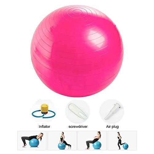 Rainbow_Road Gymnastikball Balance Ball Anti-Burst Fitness Ball Yoga Pilates Ball mit für Core Strength, Massageball mit Pumpe, 25-75 cm (65CM - Pink)