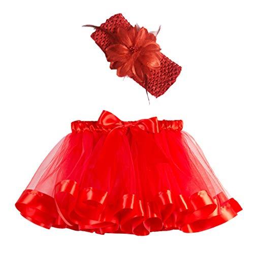 Ropa Infantil Moda 2-11 años Niño Infantil BEBÉ Chica Falda Arco Iris Tutu Fiesta Baile Ballet Mini Vestido Falda Princesa + Conjunto de Bandas para el Cabello 2 Piezas (Rojo, S 2-4 años)