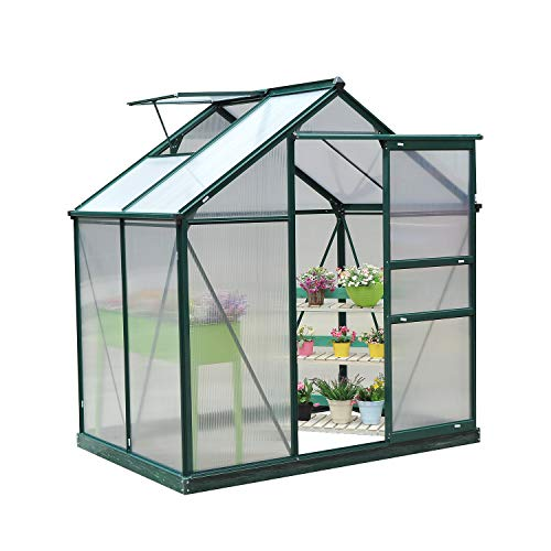 Outsunny Clear Polycarbonate Greenhouse Large Walk-In Green House Garden Plants Grow Galvanized Base Aluminium Frame...