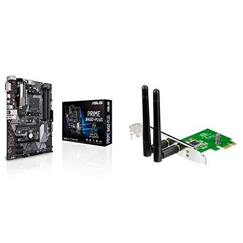 Asus AMD AM4 B450 ATX - Placa base con Aura Sync RGB header, DDR4 3466MHz, M.2, HDMI 2.0b, SATA 6Gbps y USB 3.1 Gen 2 + Asus PCE-N15 - Tarjeta de Red Wi-Fi (PCI - E, 802.11 b/g/n, 300 Mbps, WPS)