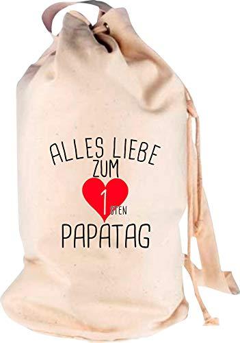 Shirtstown Sac à dos de voyage avec inscription « Alles Liebe für ersten Papatag », Adulte (unisexe), naturel, 30 cm x 53 cm x 30 cm