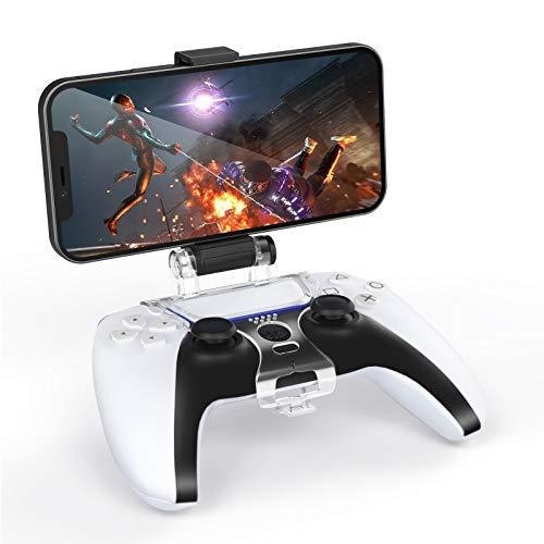 TiMOVO Clip de Celular para Controlador Inalámbrico PS5, Abrazadera de Montaje Ajustable 180〫Soporte Pinza Retráctil para Teléfono Móvil de Hasta 6,5' DualSense de PlayStation 5, Negro