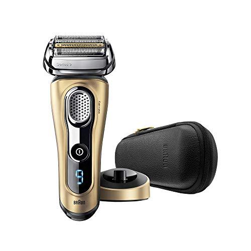 Braun Series 9 9299PS - Afeitadora eléctrica para hombre, en húmedo y seco, máquina de afeitar barba con base cargadora y funda para viaje, edición regalo oro