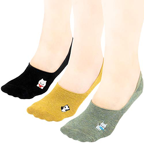 Sokke Women's No Show Non Slip One Size Invisible Cute Animal Socks (Pack of 3) (Finding The Best Female Ankle Tattoos)