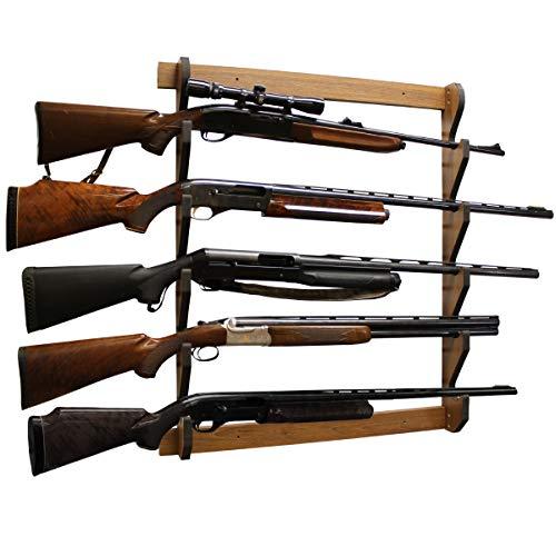 Rush Creek Creations Indoor 5 Rifle/Shotgun Wall Storage Display Rack Dark Walnut Finish - Convenient Easy Assembly
